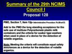 summary of the 29th ncims council i25