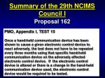 summary of the 29th ncims council i48