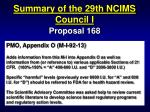 summary of the 29th ncims council i54