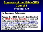 summary of the 29th ncims council i56