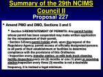 summary of the 29th ncims council ii67