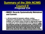 summary of the 29th ncims council ii73