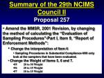 summary of the 29th ncims council ii81