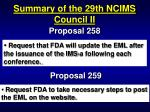 summary of the 29th ncims council ii83