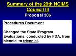 summary of the 29th ncims council iii91