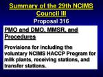 summary of the 29th ncims council iii93