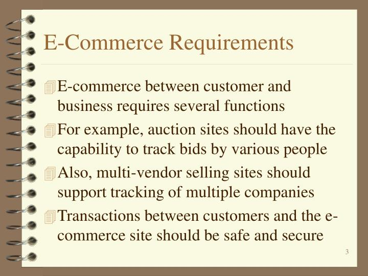 E commerce requirements