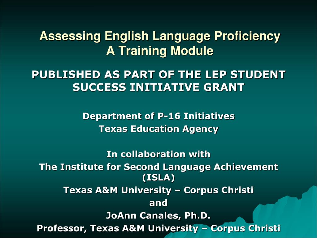 Assessing English Language Proficiency