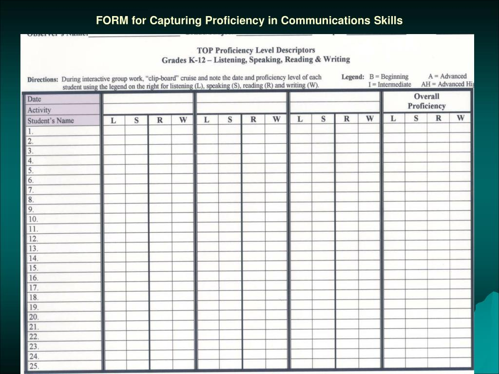 FORM for Capturing Proficiency in Communications Skills
