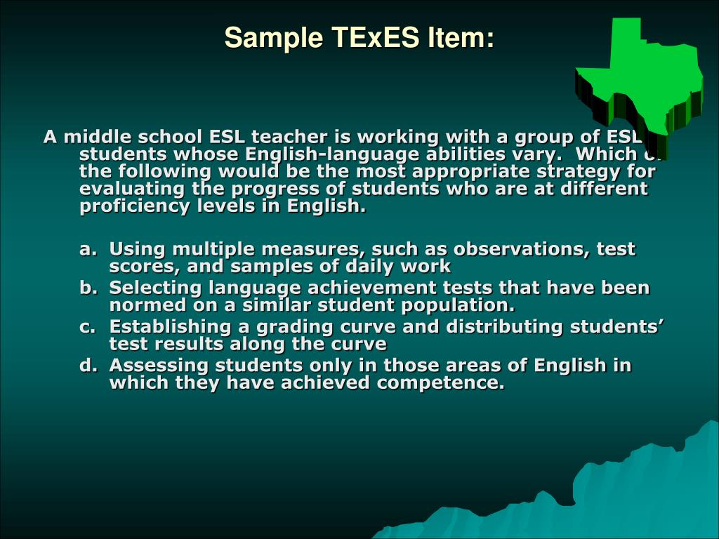 Sample TExES Item: