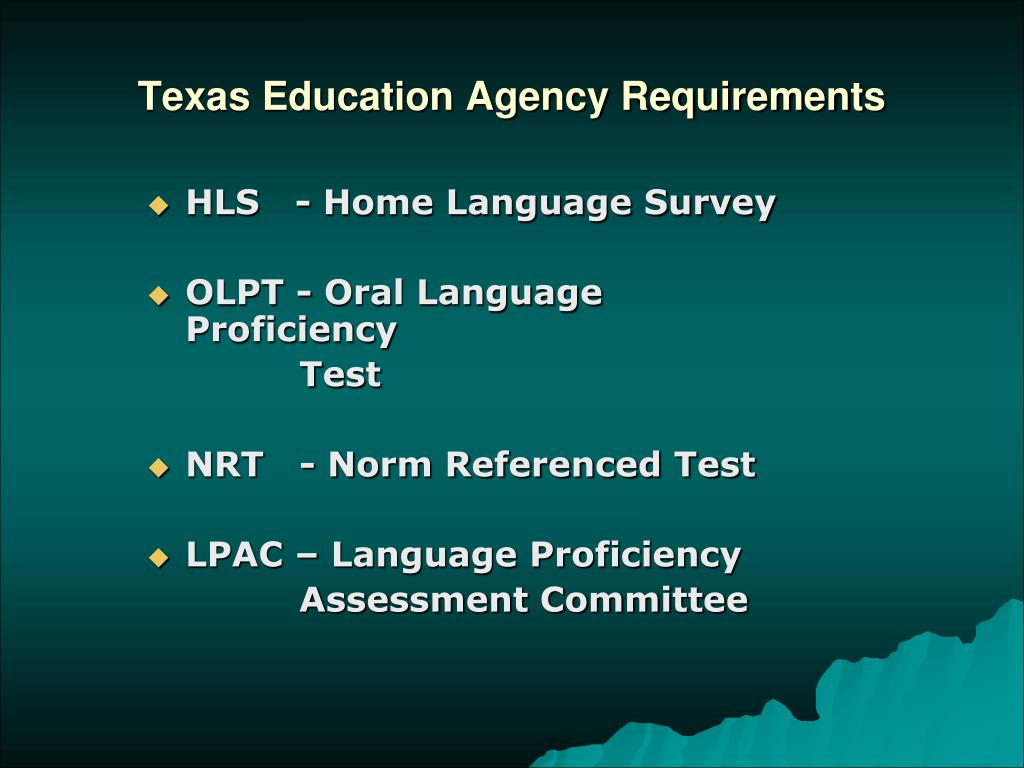 Texas Education Agency Requirements