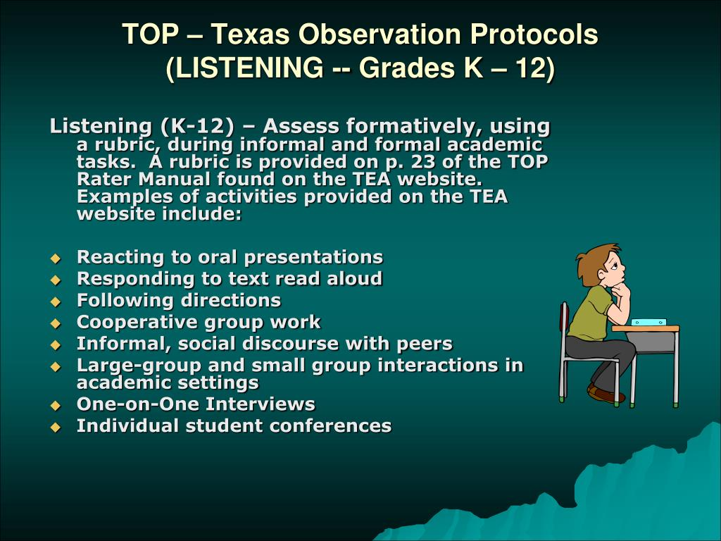 TOP – Texas Observation Protocols (LISTENING -- Grades K – 12)