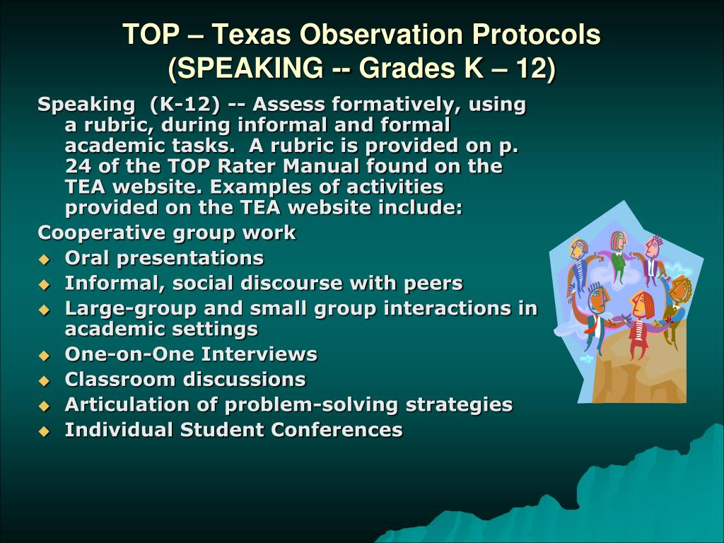 TOP – Texas Observation Protocols (SPEAKING -- Grades K – 12)