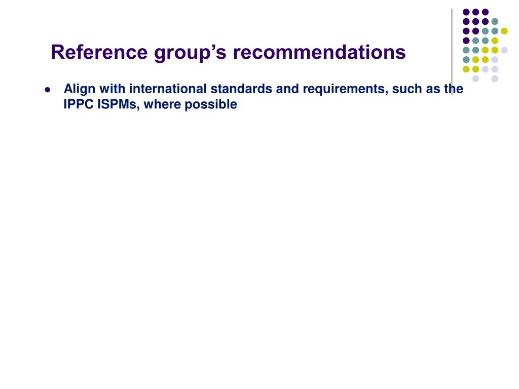 Reference group's recommendations