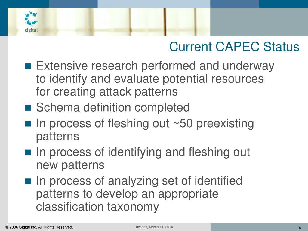 Current CAPEC Status