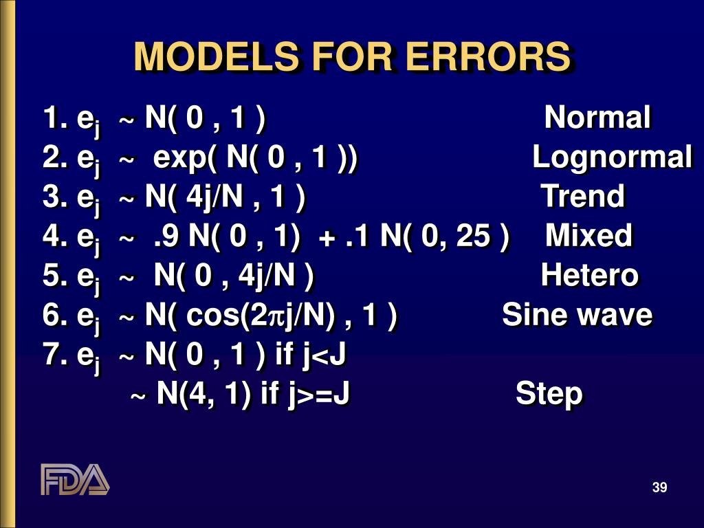 MODELS FOR ERRORS