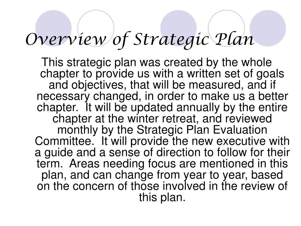 Overview of Strategic Plan
