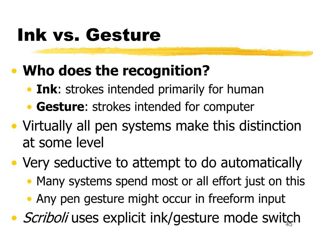 Ink vs. Gesture