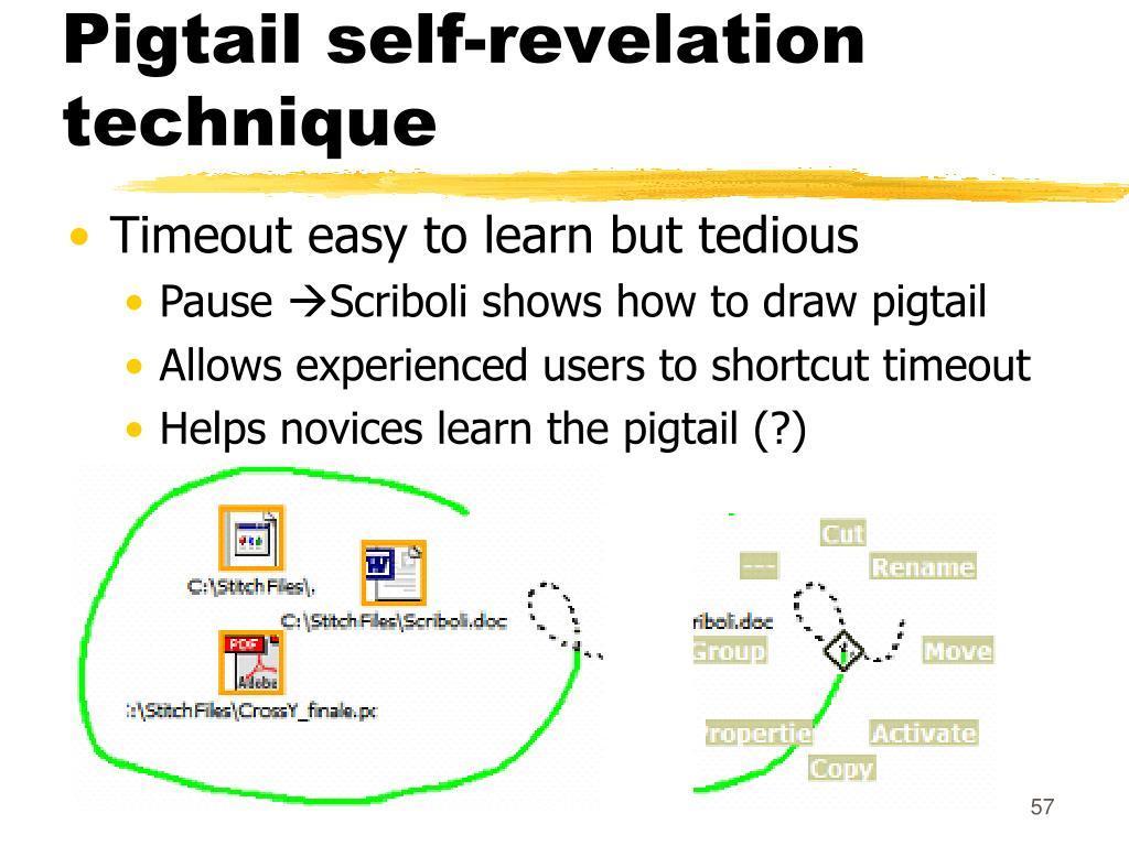 Pigtail self-revelation technique
