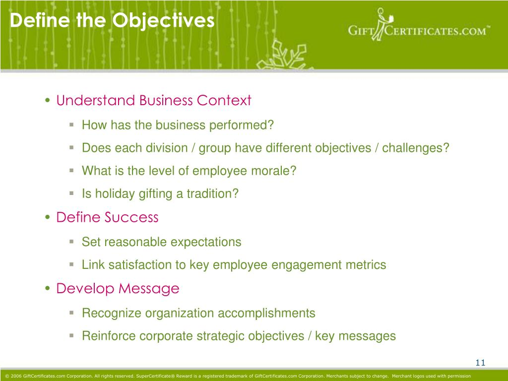 Define the Objectives