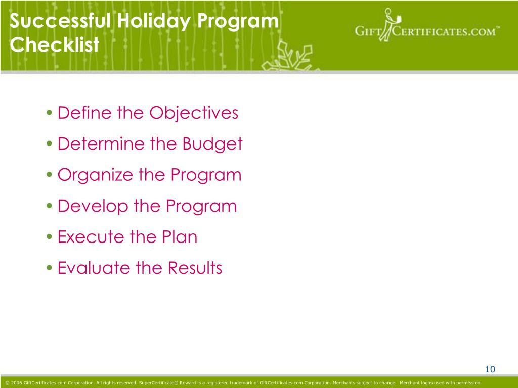 Successful Holiday Program