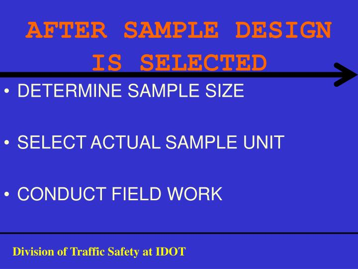 AFTER SAMPLE DESIGN IS SELECTED