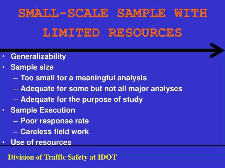 SMALL-SCALE SAMPLE WITH LIMITED RESOURCES