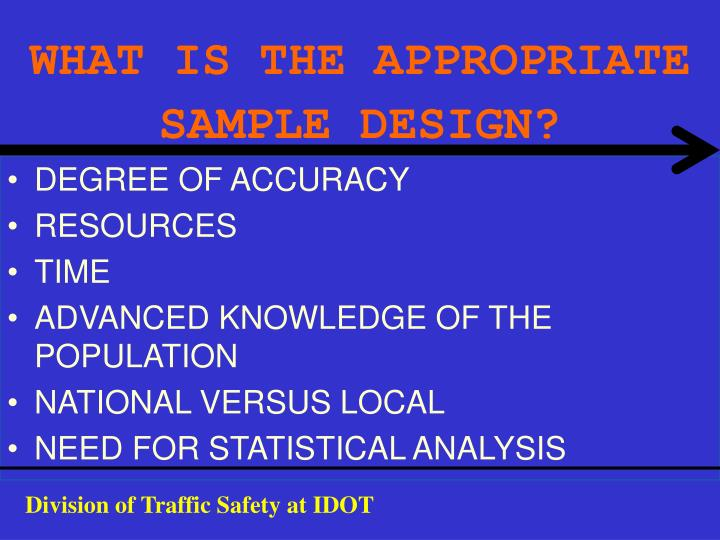 WHAT IS THE APPROPRIATE SAMPLE DESIGN?