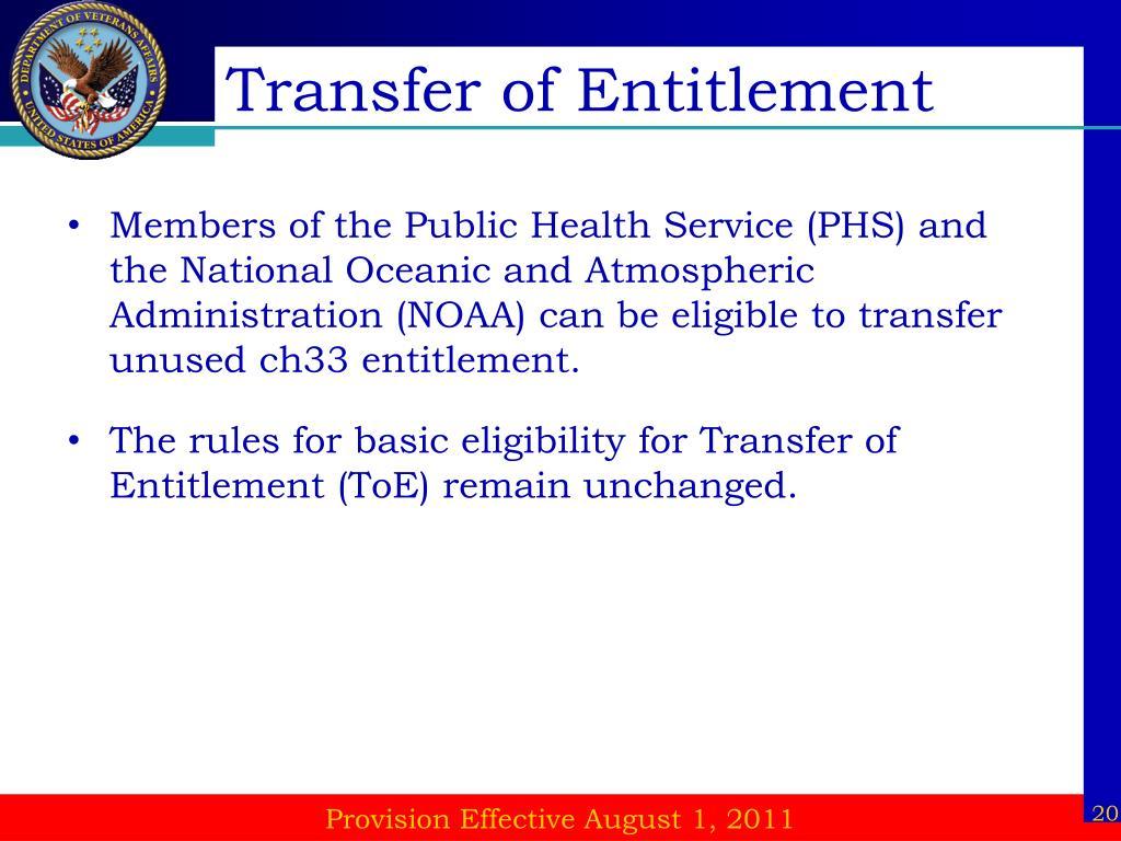 Transfer of Entitlement