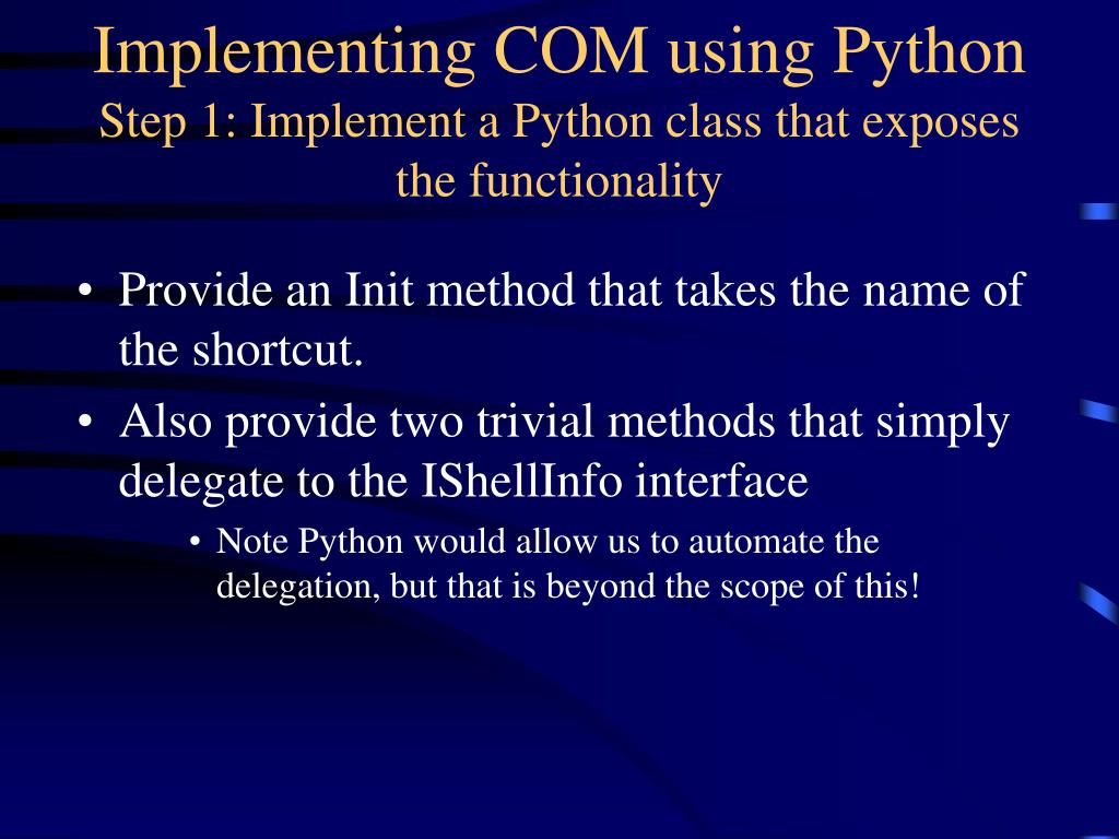 Implementing COM using Python