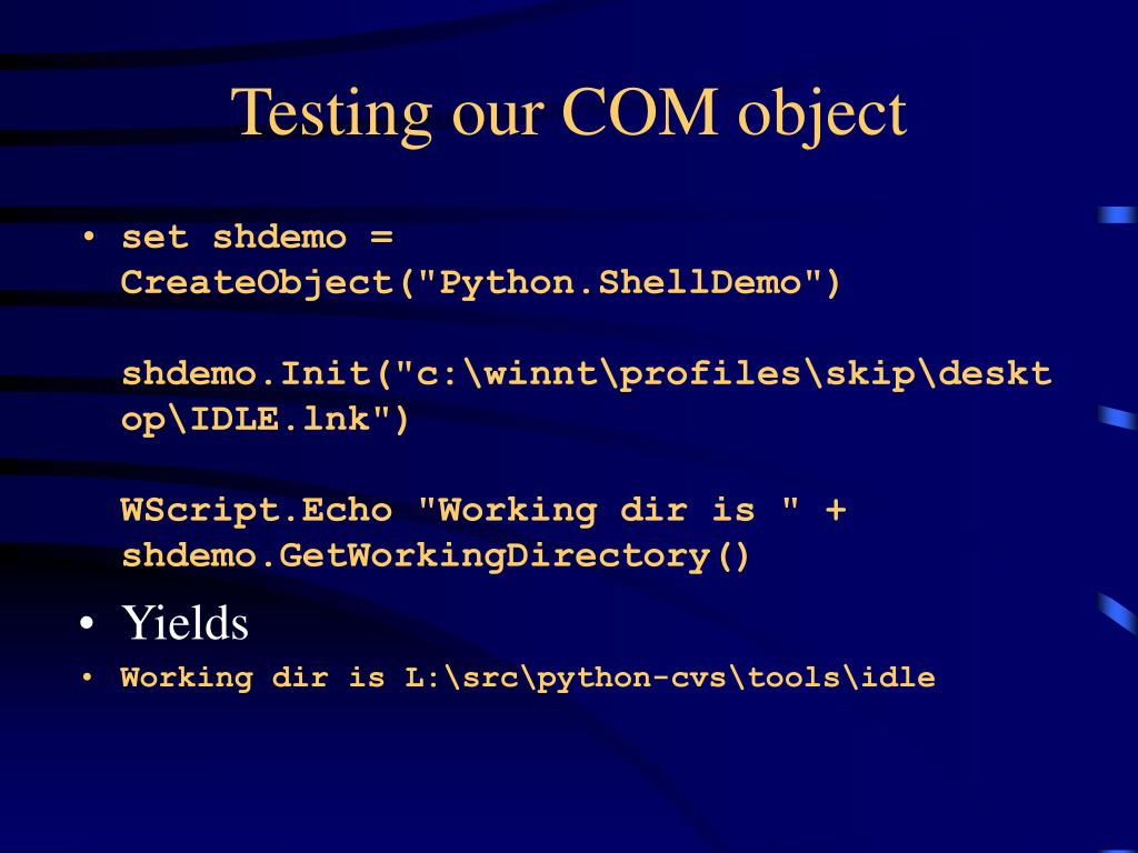 Testing our COM object