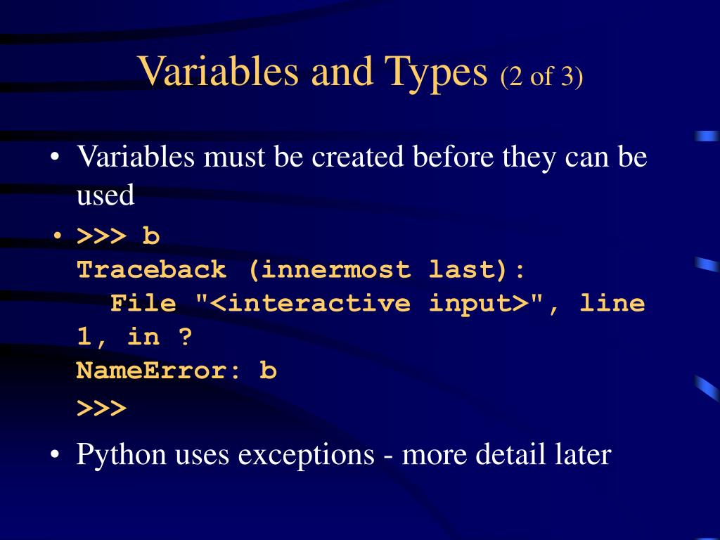 Variables and Types