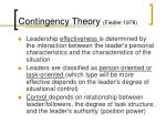 contingency theory fiedler 1978