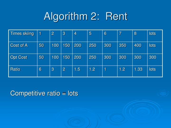 Algorithm 2:  Rent