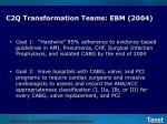 c2q transformation teams ebm 2004