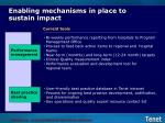 enabling mechanisms in place to sustain impact
