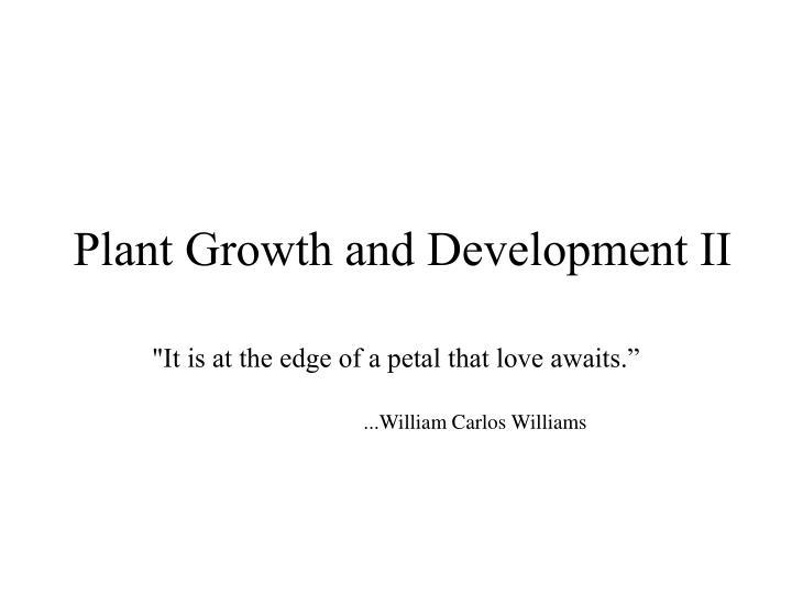 plant growth and development ii n.