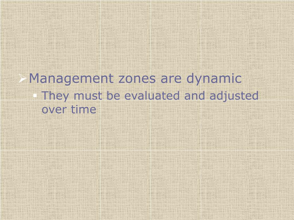 Management zones are dynamic