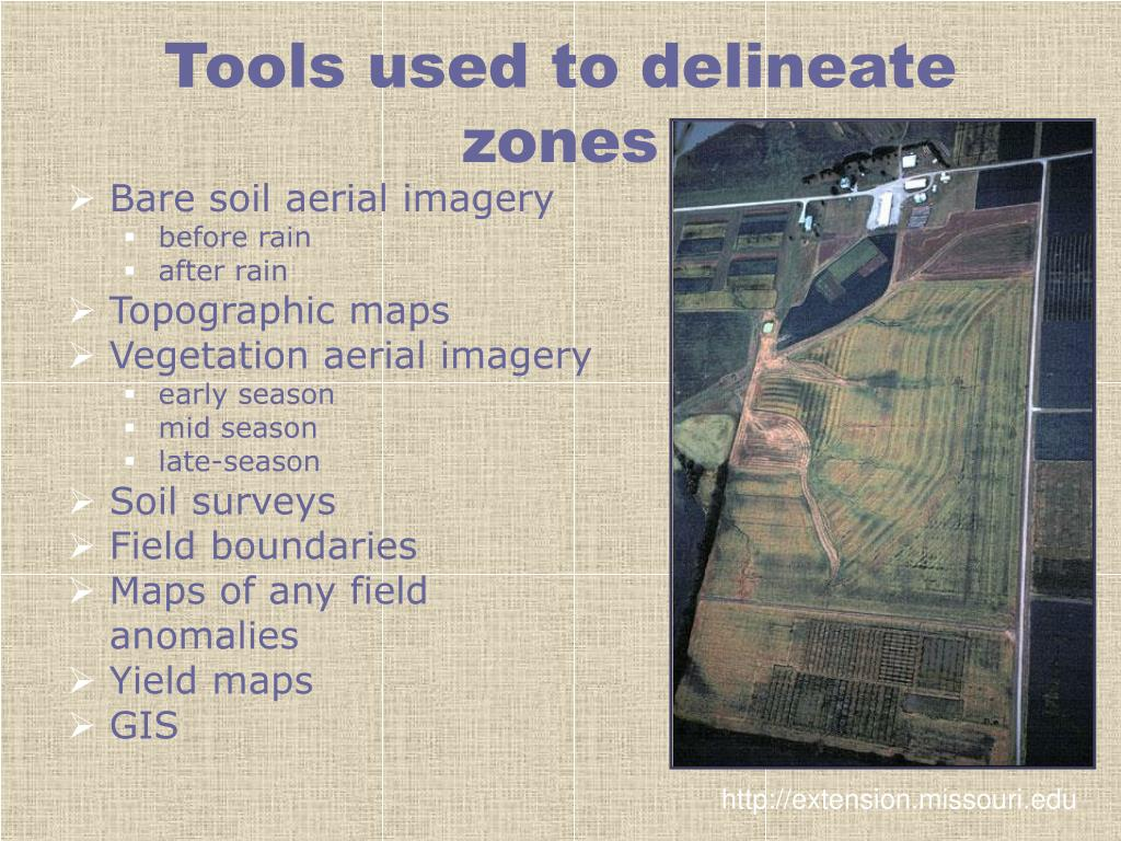 Tools used to delineate zones