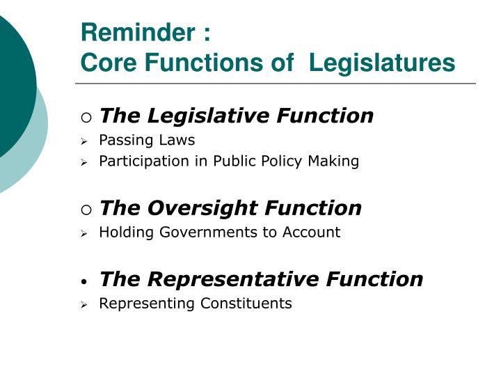 Reminder core functions of legislatures