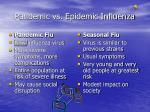 pandemic vs epidemic influenza