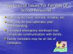 psychosocial issues for families of school personnel
