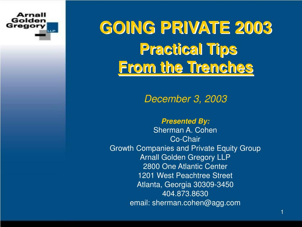 GOING PRIVATE 2003