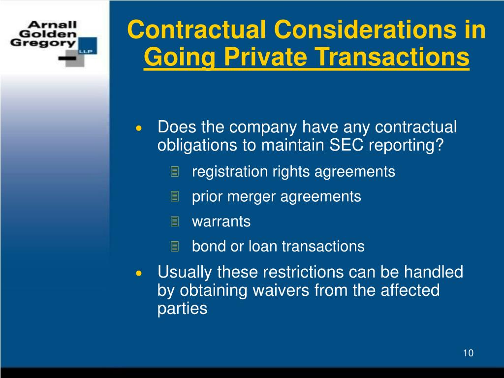 Contractual Considerations in
