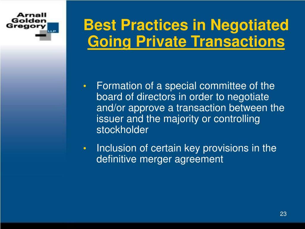 Best Practices in Negotiated
