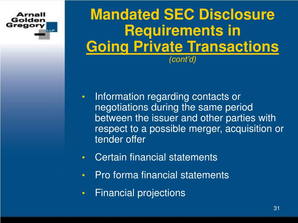 Mandated SEC Disclosure