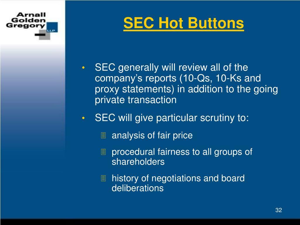 SEC Hot Buttons