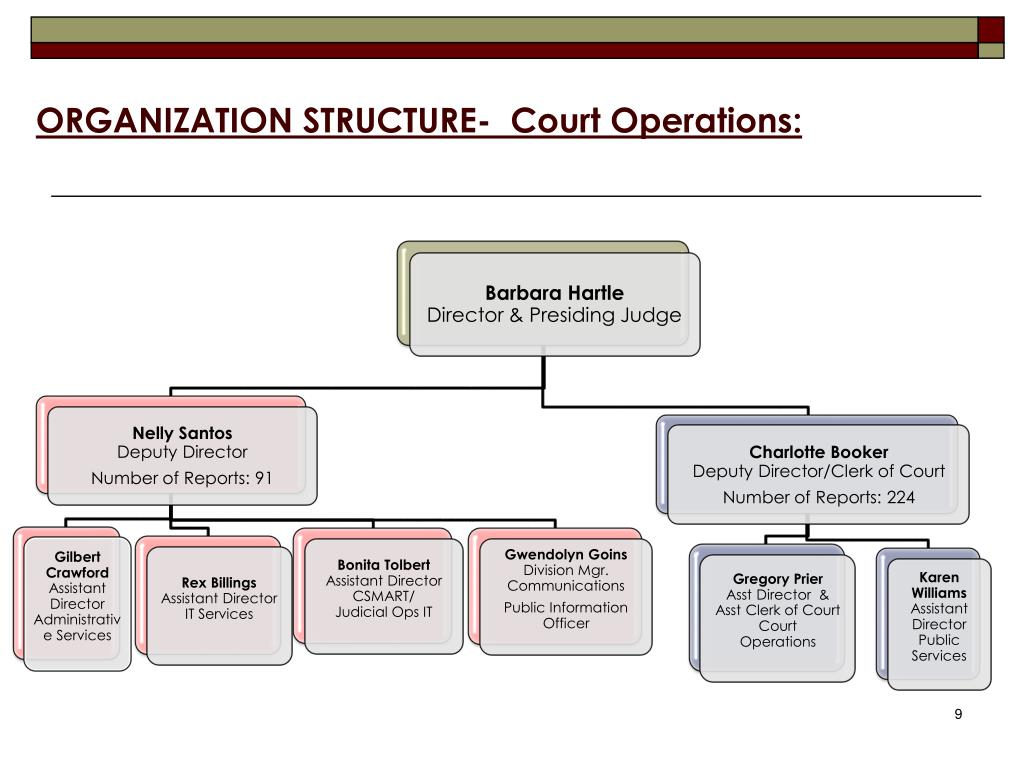 ORGANIZATION STRUCTURE-  Court Operations: