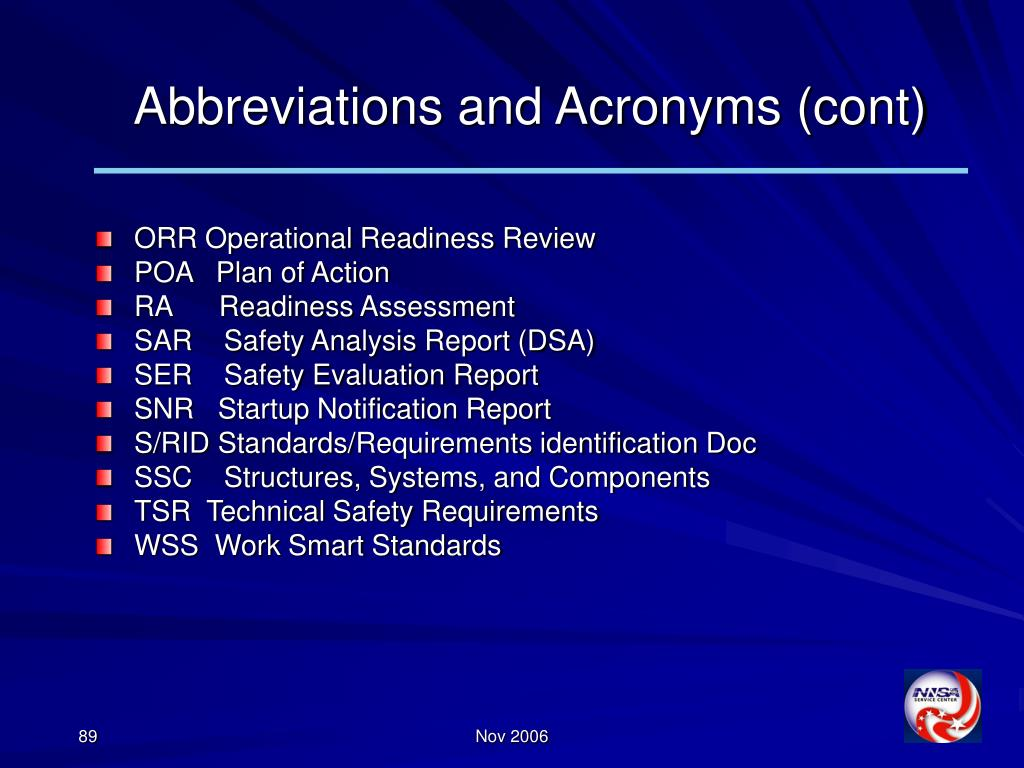 Abbreviations and Acronyms (cont)