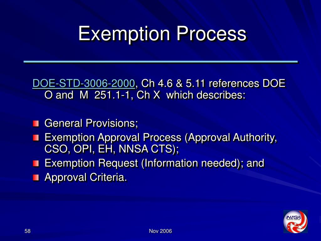 Exemption Process